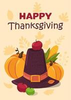 Happy Thanksgiving holiday flat vector greeting card template