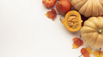 Flat lay frame with pumpkins on white background photo