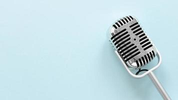 Flat lay microphone with copy space photo