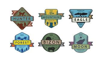 Assortment Badges Animals and Nature Set Logo vector
