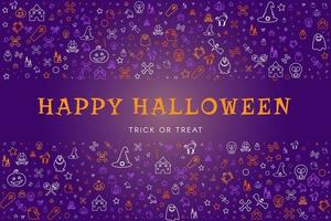 Happy halloween cute doodles background for party vector