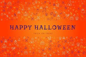 Happy halloween greeting card with hand drawings vector