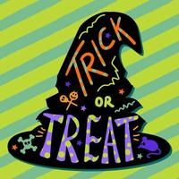 Halloween card, hand drawn lettering and witch hat vector