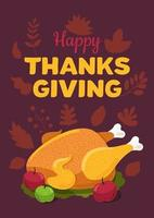 Happy Thanksgiving day flat vector greeting card template