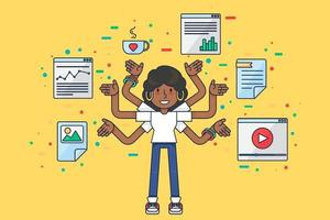 Multitask afro girl data specialist seo programmer vector