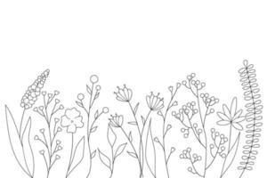 Black silhouettes of grass, flowers and herbs. minimalistic simple floral elements. Botanical natural. Graphic sketch. Hand drawn flowers. design for social media. Outline, line, doodle style. vector
