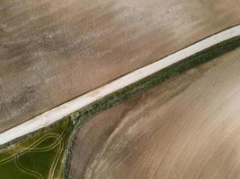 Aerial view of rural dirt land photo