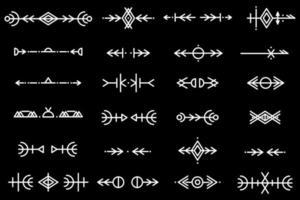 conjunto de pinceles de patrón de vector. patrón étnico. crear bordes, marcos, separadores. elementos de diseño de plantilla dibujados a mano. ilustración vectorial. vector
