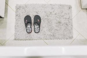 Shaggy rug floor mat for slippers photo