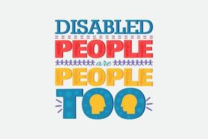 mundo discapacitado personas protegen cartel cartel de letras vector