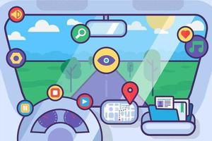 concepto de vector interior de coche interior con iconos