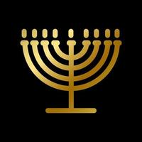 Menorah symbol isolated gold judaism religion sign vector