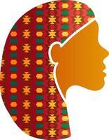 mujer india, cara, silueta, perfil, icono, aislado vector