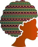 mujer afroamericana, cara, silueta, perfil, icono, aislado vector