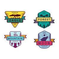Conjunto de insignias de águila y bosque, luna y montaña. vector