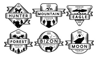 Collection Labels Animals and Nature Set Logo vector