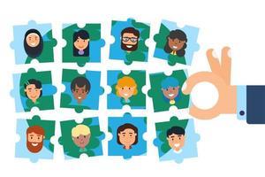 vector de concepto de rompecabezas de construcción de equipo de comunidad diversa