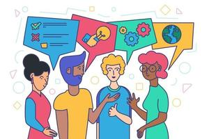 Diverse People Talk, Ethnic Human Discuss Concept vector