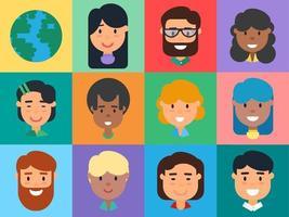 People Avatars Set, Diverse Men and Women Faces vector