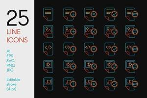 Documents and files color linear icons set vector