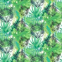 Outline tiger head seamless pattern wallpaper vector