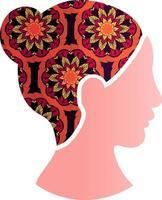 mujer asiática, cara, silueta, perfil, icono, aislado vector