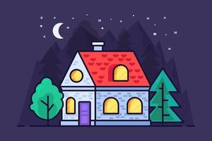 Flat house in the mountains and forest vector