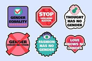 Set of signs to stop gender discrimination vector