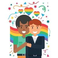 Two gay partners embrace, homosexual love vector