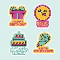 Birthday Labels Set, Cute Greeting Stickers Flat vector