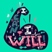 I can I will hand drawn lettering