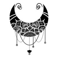 Moon, Mandala Floral Ornament Hand Drawn Isolated