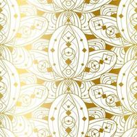 Vector Seamless Pattern with Abstract Golden Ornament