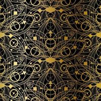 Abstract Seamless Pattern, Golden Print on Black