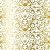 Seamless Pattern with Natural Golden Lotus Art