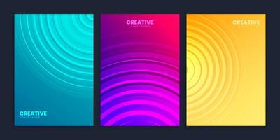 Minimal cover design template set with gradient background vector