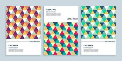 Abstract Colorful triangle cover set, Colorful triangle background collection vector