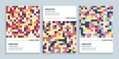 Abstract Backgrounds Set With Colorful Pixels vector