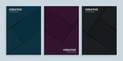 Geometric lines cover design collection vector
