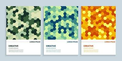 Cover design template set with colorful hexagons, Abstract beehive background vector