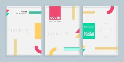 Memphis style cover template set, Minimal cover design template set with memphis style vector