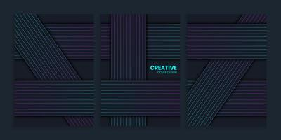 Abstract Background Set With geometric Lines, Abstract geometric Lines covers Set vector