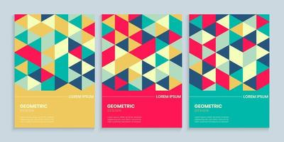 Geometric Cover Design with Colorful Triangles vector