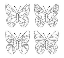 Simple set of butterfly on white background vector