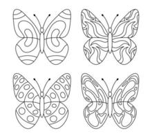 Collection of lovely butterflies for coloring book vector