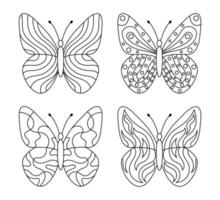 Vector drawing of butterflies for coloring book