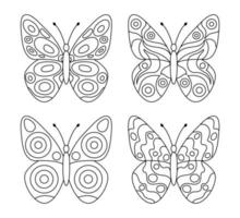 Set of butterflies coloring page for kids vector