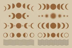 Set of Mid century modern minimalist art print with organic natural shape. Abstract contemporary aesthetic background with geometric Moon phases. Boho wall decor. vector