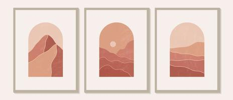 Contemporary modern minimalist abstract mountain landscapes aesthetic illustrations. Bohemian style wall decor. Collection of mid century artistic prints vector