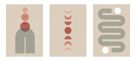 Set of Mid century modern minimalist art print with organic natural shape. Abstract contemporary aesthetic background with geometric Moon phases, sun lines, earth tone. Boho wall decor. vector